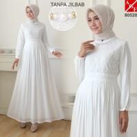 AGNES Baju Gamis Wanita Gamis Brukat Gamis Putih Baju Muslim #80520