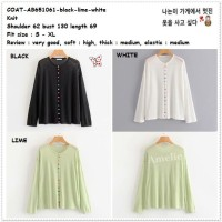 AB651061 Baju Cardigan Rajut Kardigan Wanita Korea Import Hitam Putih
