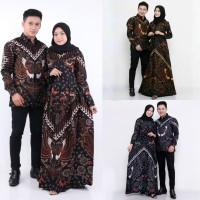 NK BATIK BAJU COUPLE GAMIS ANDARI SARIMBIT DRESS KEMEJA - hitam coklat, XL