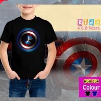 Kaos Anak Laki-Laki Captain America Blue Baju Atasan Superhero Rhymes