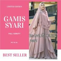 Baju Gamis syari Ceruty polos model terbaru 2019 set khimar hijab