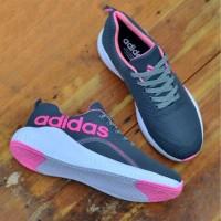Sepatu wanita adidas zumba - sneakers senam jogging abu pink