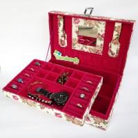 Kotak Perhiasan Koper Motif BUNGA PUTIH / Tempat Perhiasan Aksesoris