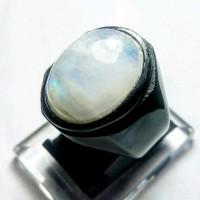 Cincin Batu Akik Natural Biduri Bulan Air Laut Moon Stone