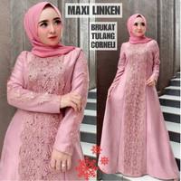 Baju Gamis wanita Syari Terbaru Maxi Linken Bhan Moscrepe Kombi Brukat