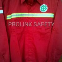 Termurah Baju safety merah seragam proyek lapangan scotlight fosfor