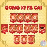 Banner Bunting Flag Happy New Year Gong Xi Fa Cai Imlek Sincia
