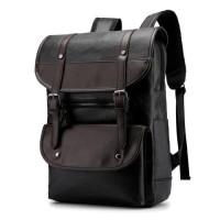 Tas Ransel Punggung Backpack Laptop Travel PU Leather Kulit