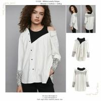 baju atasan jumbo putih salur unik bahu bolong