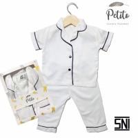 Petito Piyama Baju Tidur Bayi Anak / Putih