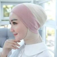 Ciput rajut 2 warna anti pusing bandana jilbab inner hijab iner muslim