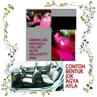 Sarung Jok Mobil AGYA-AYLA Full Set Motif HELLO KITTY-PINK BINTIK