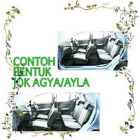 Sarung Jok Mobil AGYA-AYLA Full Set Motif DORAEMON BIRU BINTIK PUTIH