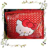 Sarung Jok Mobil Agya Ayla Motif Hello Kitty Merah Bintik Putih