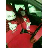 Sarung Jok Mobil Agya Ayla Motif Hello Kitty Merah Bintik Hitam
