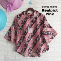 Atasan/blouse kerah tangan terompet lapis motif batik size jumbo