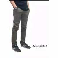 celana chino slimfit bahan stretch / celana pria - Abu-abu, 27