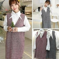 Termurah ! Overall baju kodok ala korea mini dress remaja wool rajut