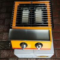 KING CHEF roaster/ panggangan sosis bakaran gas 2tungku plat stainless