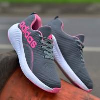 Sepatu Adidas Running 2 Abu Pink Sneakers Wanita Casual Import