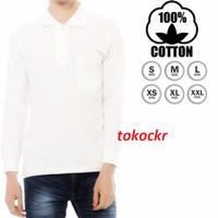 Baju Kaos Putih Lengan Panjang Berkerah S M L XL XXL 100% Cotton
