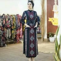 setelan ethnic long dress celana kulot kain tenun jepara blanket AT003