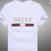 kaos t-shirt kaos pria GUCCI bahan bagus warna putih stok tersedia