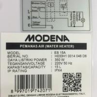 HOT SALE water heater modena es 15a 350watt Terjamin