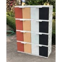 AKAKO - Lemari plastik 4 susun 16 pintu motif rotan