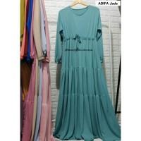 Baju Gamis Wanita Adifa Dress Syari Jersey Rempel Susun Muslimah