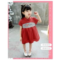 Dress anak cewek PINK/RED/GREEN CHEONGSAM FLOWER COTTON import