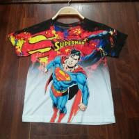 Kaos/Baju Fullprint 3D Anak Superhero/Marvel/Justice League Superman
