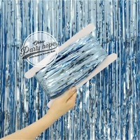 tirai foil biru muda / backdrop foil fringe curtain background dekor