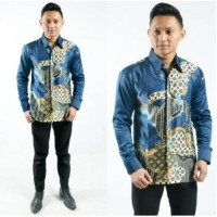 Baju Atasan/ Hem / Kemeja Batik Pria Lengan Panjang Semi Sutra