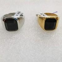 Cincin pria cowok batu black onyx titanium