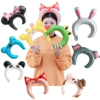 Balon foil bando anak motif hewan / animal headband / souvenir ultah