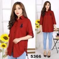 Kemeja / Tunik / Atasan Jumbo Fashion Wanita Polo Merah XXXL