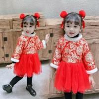 dress bayi cheongsam red gold tutu cantik