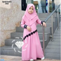 Baju Gamis Muslim Anak Perempuan/Cewek - Gamis Syari Genice Kids pink