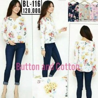 BARU! Baju Atasan Wanita Blouse V-Neck Floral bahan Maxmara Premium