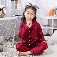 Piyama Baju Tidur Anak Perempuan Lengan Panjang Satin Umur 1 - 5 Tahun