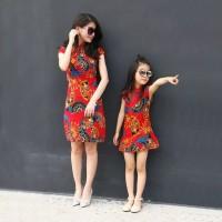 babydoll cheongsam dewasa anak motif kipas dress imlek newyear