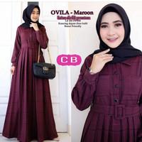 Baju Gamis Maxy wanita Muslimah Dewasa Ovila Dress katun akrilik cb