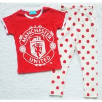 Piyama Anak Manchester United Red Polkadot MS - Baju Tidur Anak MU