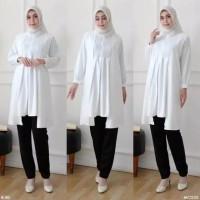 TUNIC WHITE LAYER FIT TO L Baju Atasan Wanita Muslim Tunik Cantik Ori