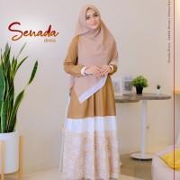 Baju Gamis Polos Mix Motif Bunga SENADA Dress Yasmeera Bahan Toyobo