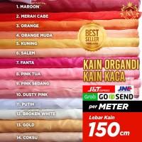 Kain Organdi / Kaca Lebar 150 cm Terlaris,Bahan Dekorasi,Hijab,Gaun - Pink Sedang