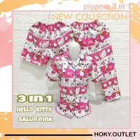 Hoky.Outlet Piyama 3 in 1 Baju Tidur Motif Kitty Salur/Fit to XL - Pink, one size