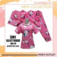 Hoky.Outlet Piyama 3 in 1 Baju Tidur Motif HK Friendship/Fit to XL - Merah Muda