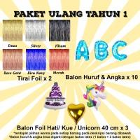 Paket Ulang Tahun 1 / Paket Balon Ultah 1 / Paket Balon Huruf & Angka